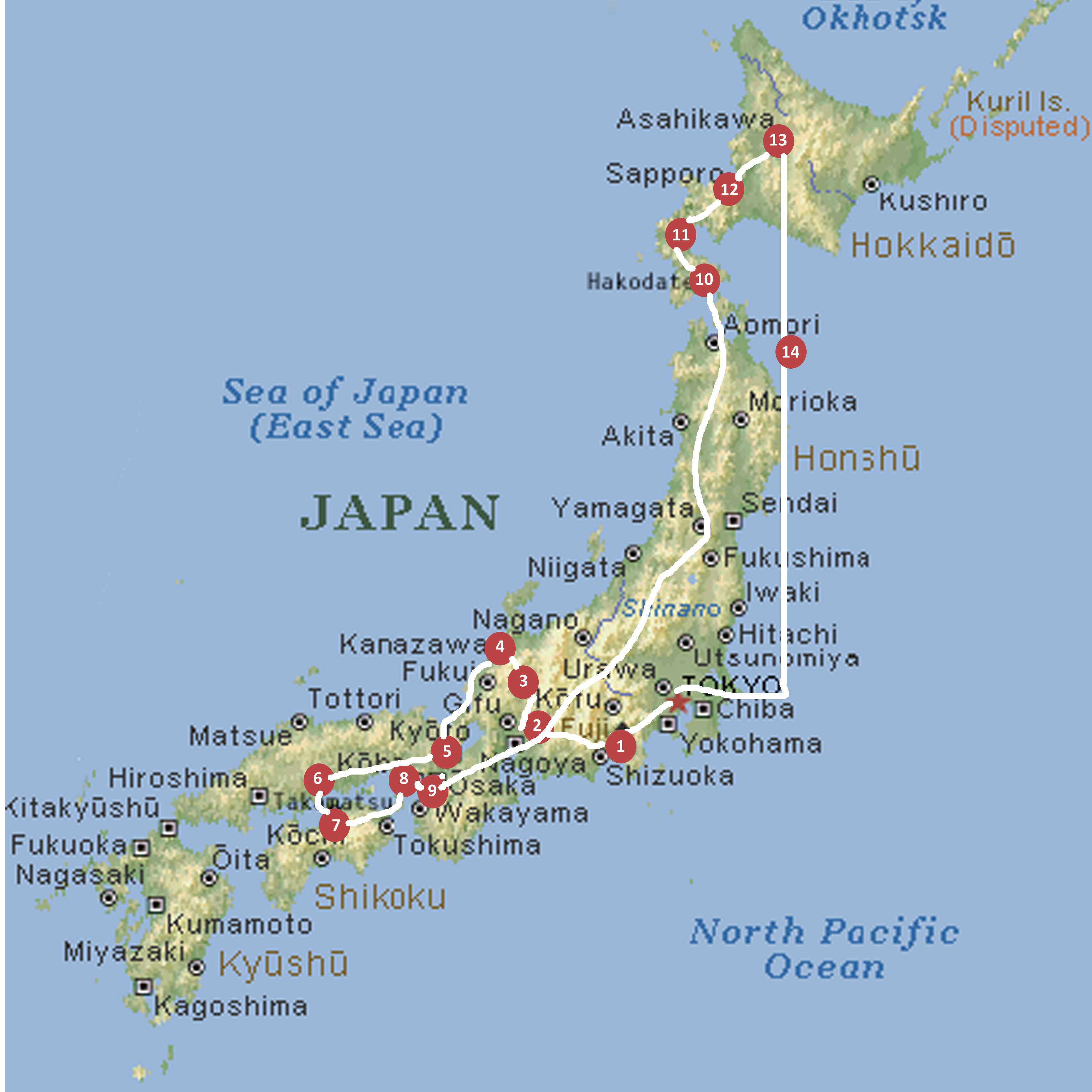 japan map travel stage numbers and routes copy. our planned itinerary
