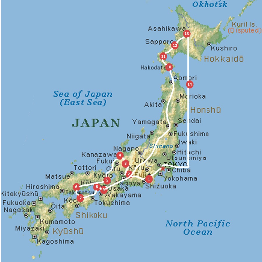 Japan map travel stage numbers and routes copy