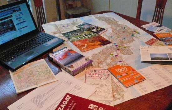Table with maps