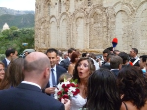 Tropea wedding surprised bride