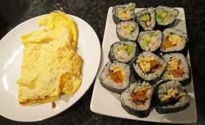 Sushi and omelette