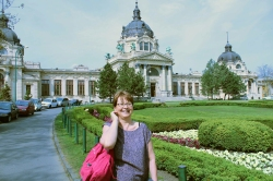 Dee about to enter Szechenyi Baths