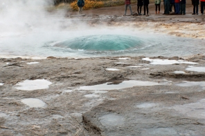 Strokkur bubbling up