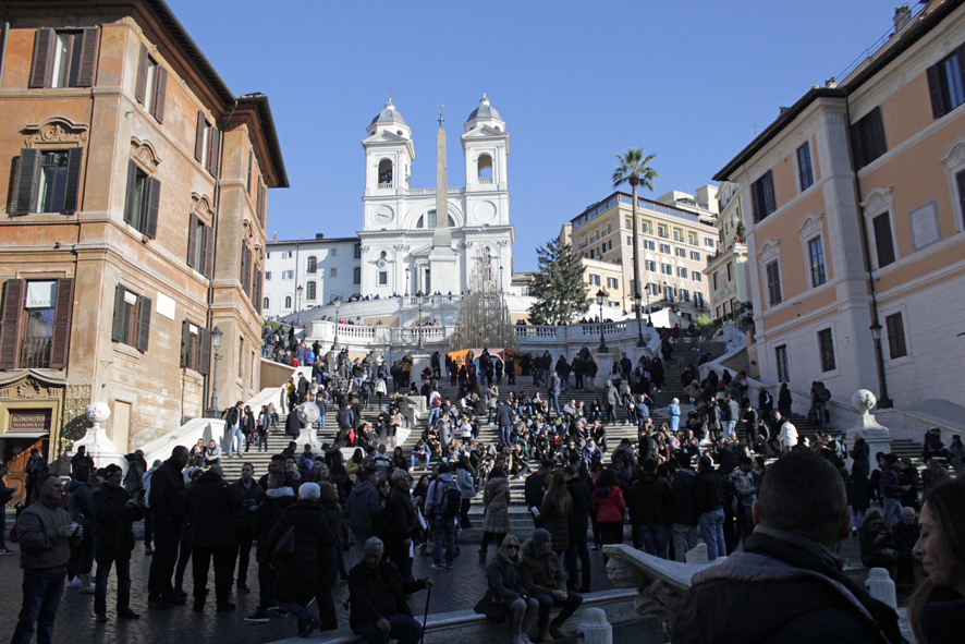 Busy Spanish steps